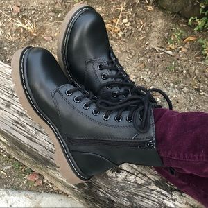 Black Grunge Lace Up Combat Boots